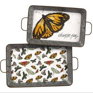 Large Metal Tray Set Butterfly Print Choose Joy